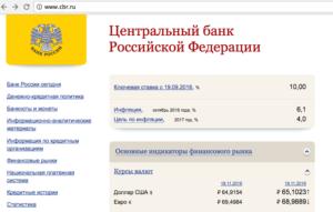 Актуальный размер ключевой ставки размещен на главной странице сайта ЦБ России