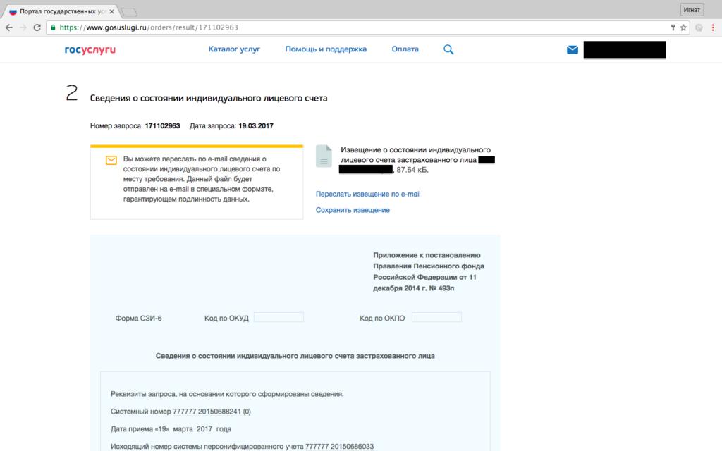 Результат получения выписки из пенсионного счета на Госуслуги.ру