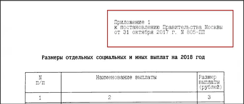Приложение № 1 к Постановлению Правительства Москвы № 805-ПП