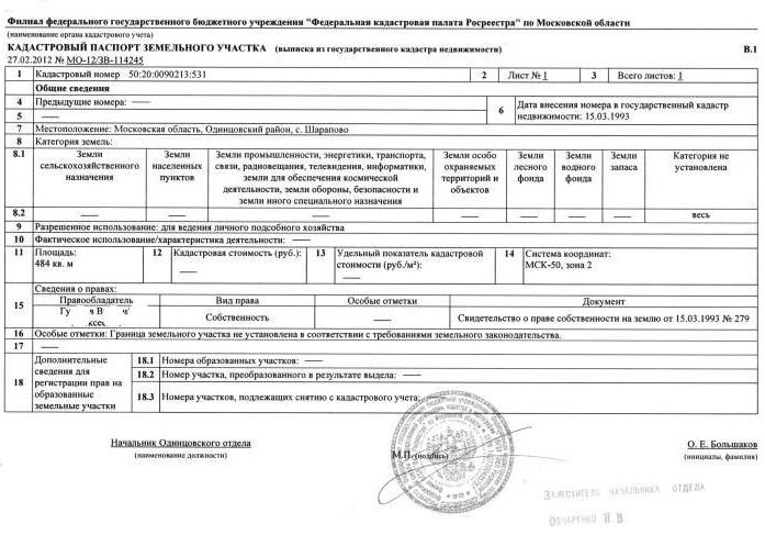 """Образец """"Кадастровый паспорт земельного участка"""""""