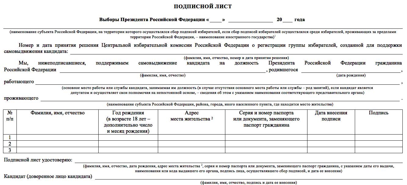 Образец Подписного листа кандидата в Президенты