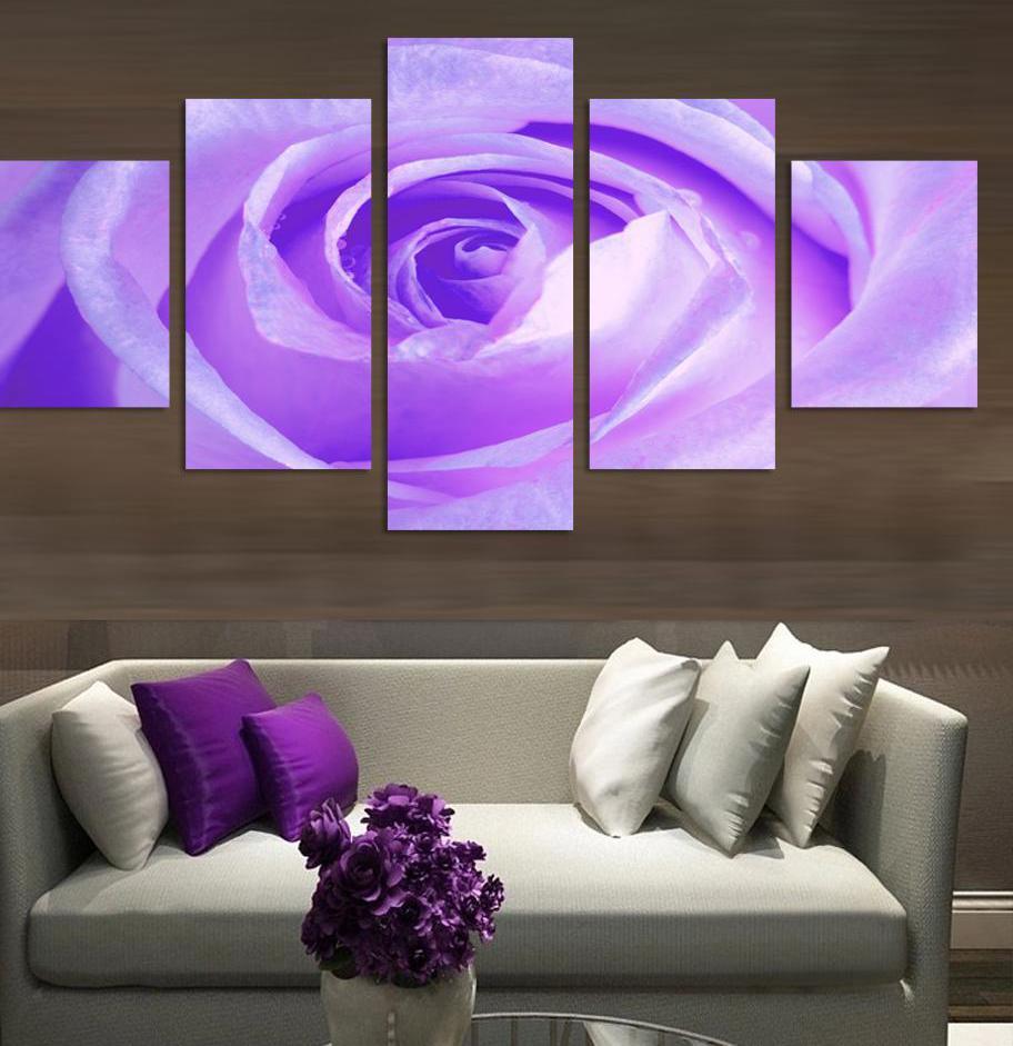 5-Панель-Современная-живопись-Холст-Аватар-Пурпурная-роза-цветочный-Рисунок-Живопись-для-Гостиная-без-Рамки