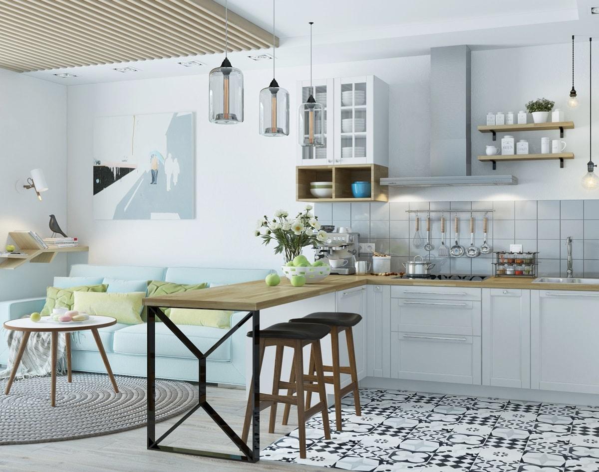 Зонирование-кухни-гостиной-в-скандинавском-стиле