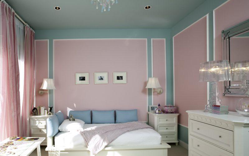 Окрашеные стены в спальне-1