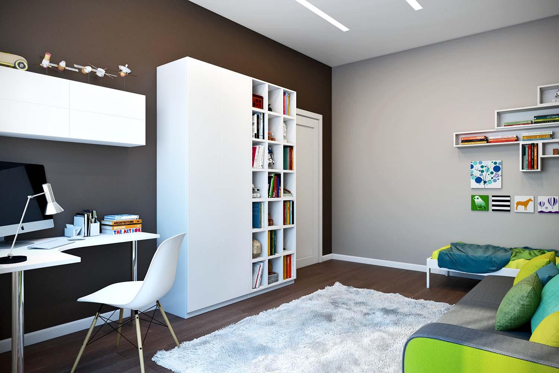 Окрашенные стены в спальне-2