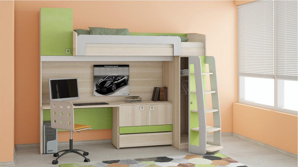 Детская-кровать-чердак-с-рабочей-зоной